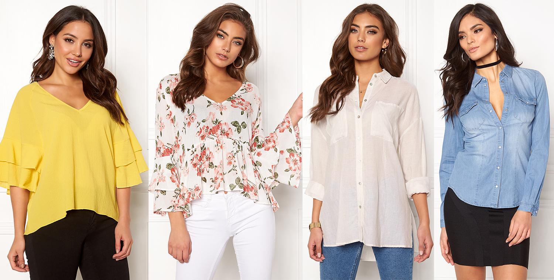 Boho romantisk blus med blommor och jeansskjorta dam