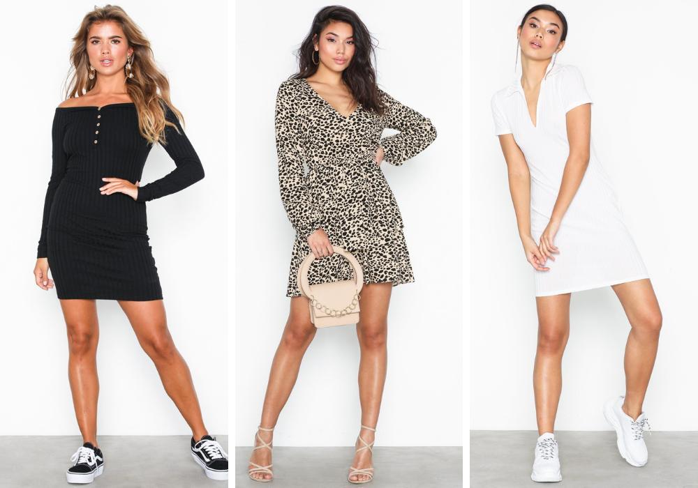 Svart vardagsklänning, leopardklänning, vit tennisklänning