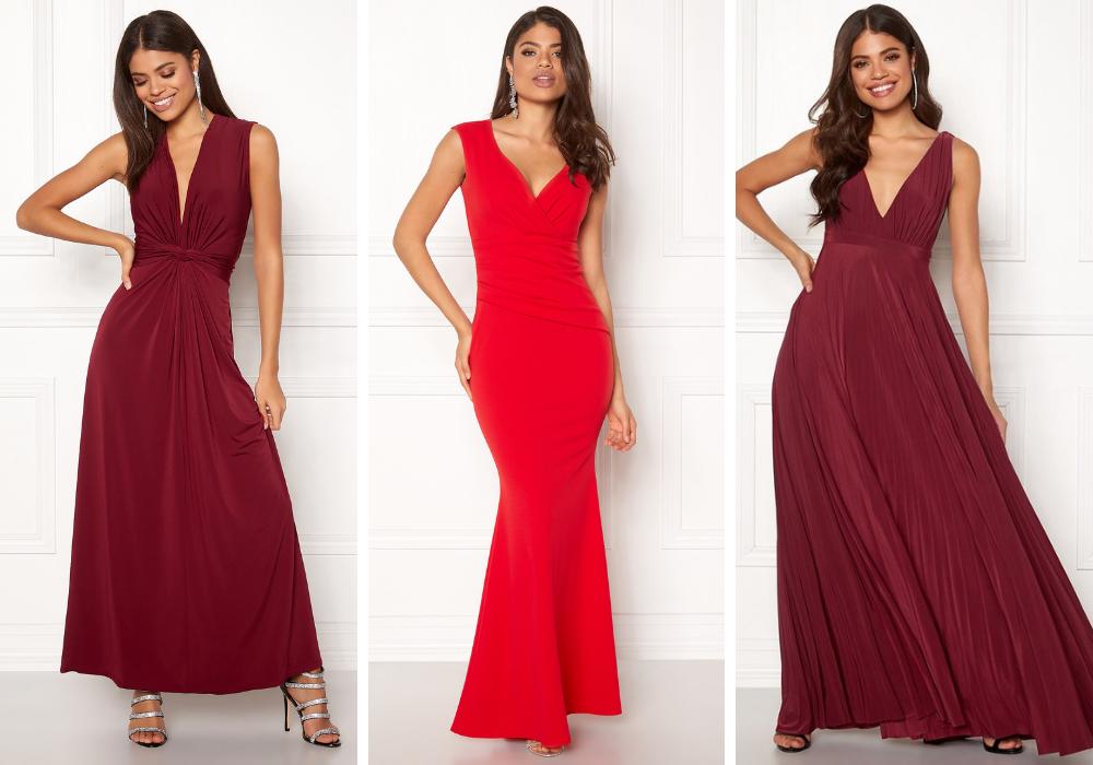 Lång röd klänning