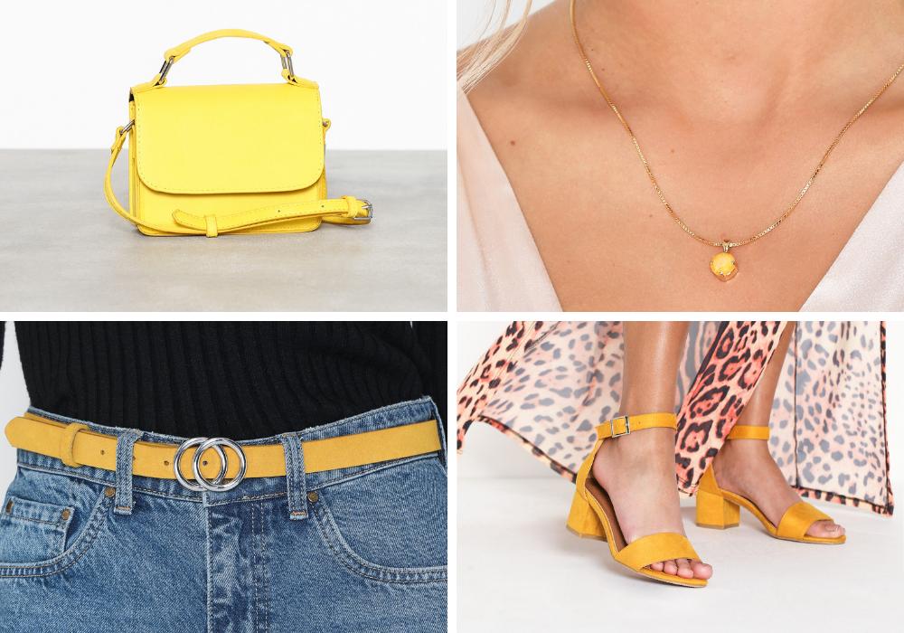 gul väska, gult skärp, gula skor