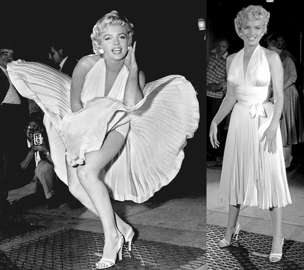 Marilyn Monroe vit klänning plisserad blåser upp
