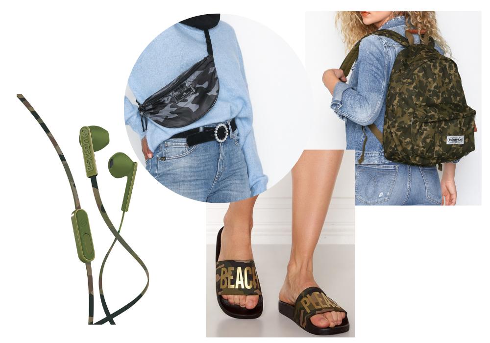 Camouflage kläder accessoarer med kamouflage mönster