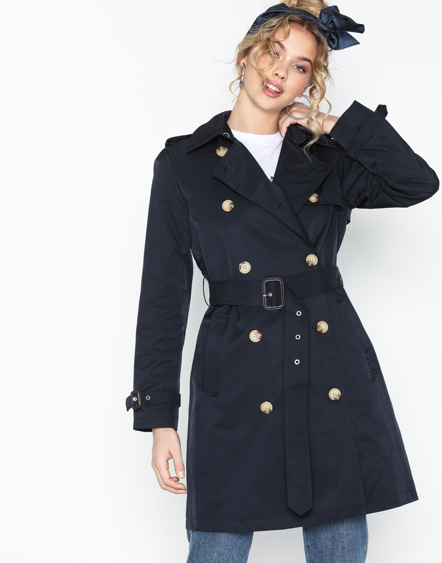 marinblå trench coat Ralph Lauren