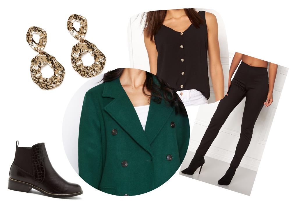 Outfit höstkläder grön kappa svarta kostymbyxor