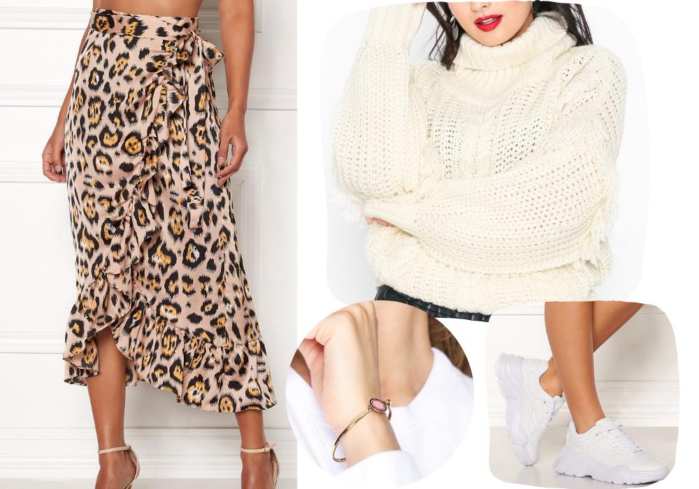 leopard kjol och varm kofta outfit