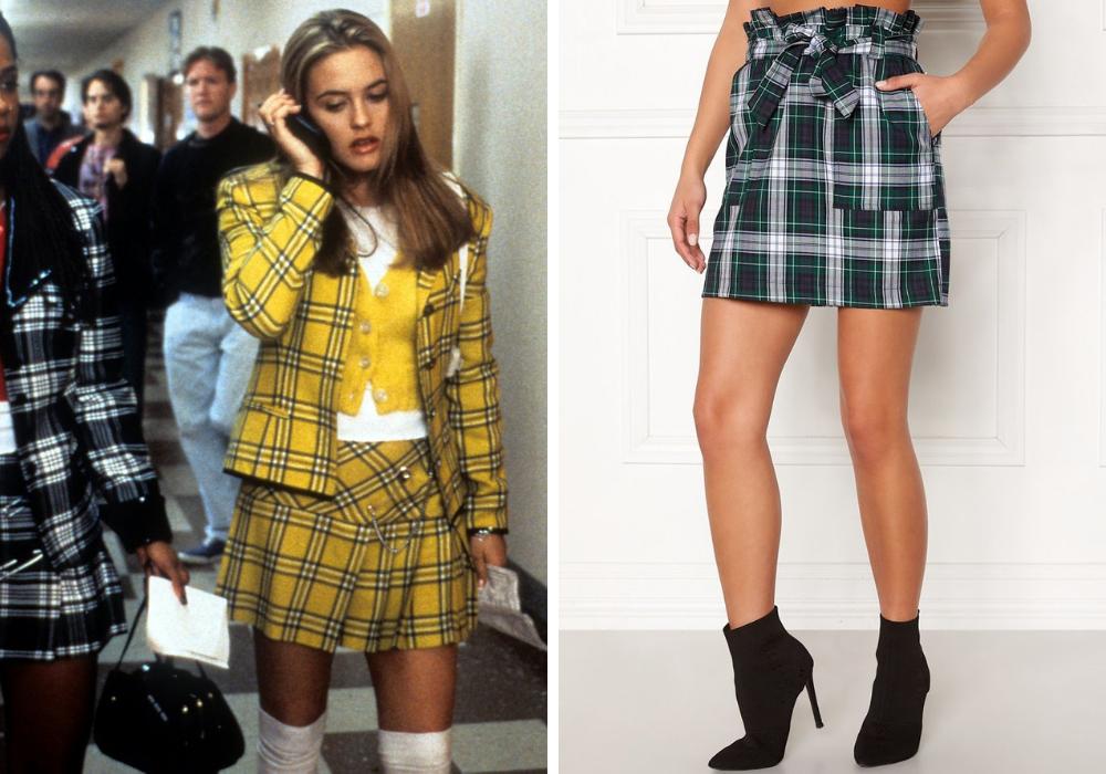 90 tal rutig kjol school girl skoluniform kjol