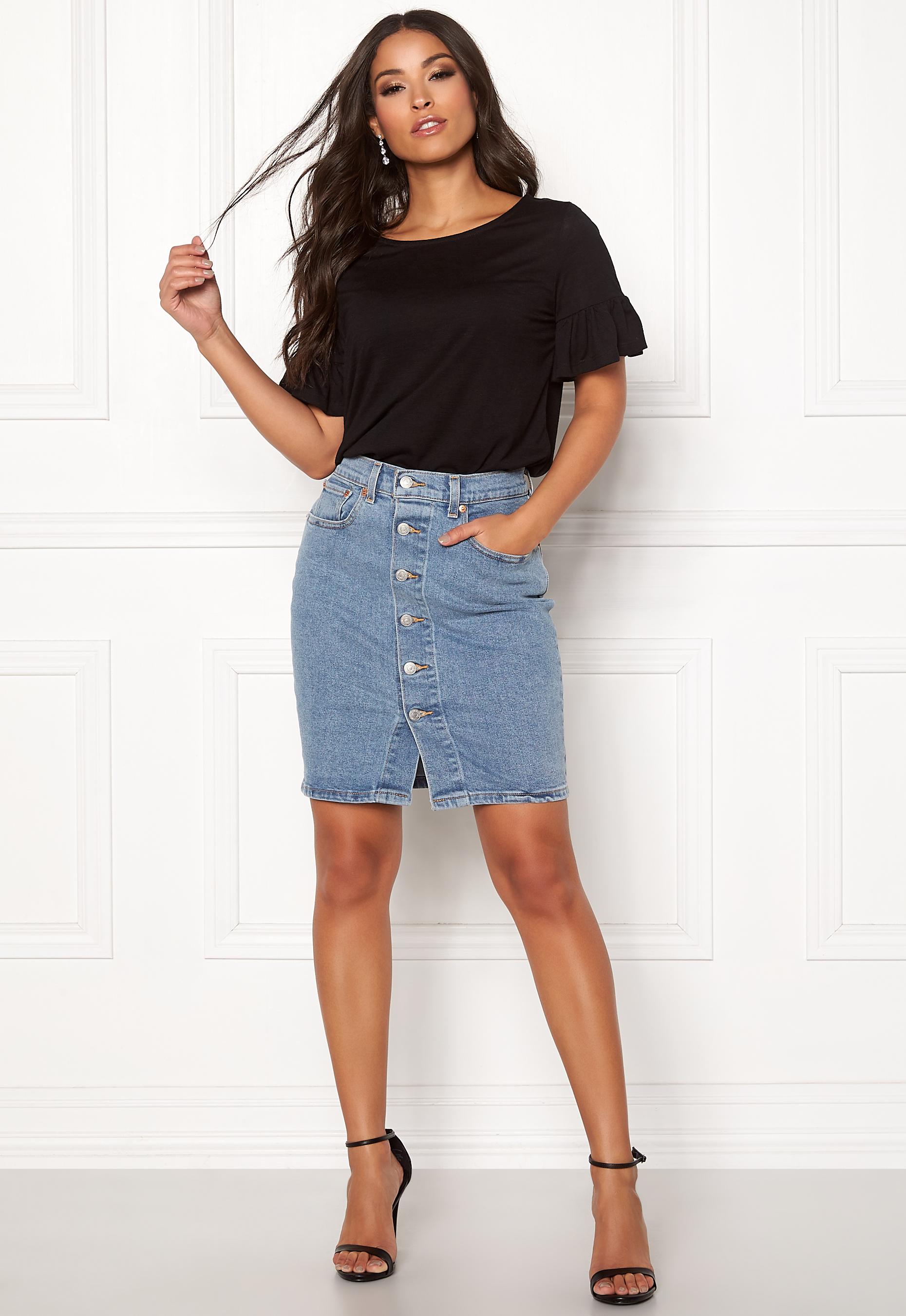 jeanskjol midi pennkjol i jeans