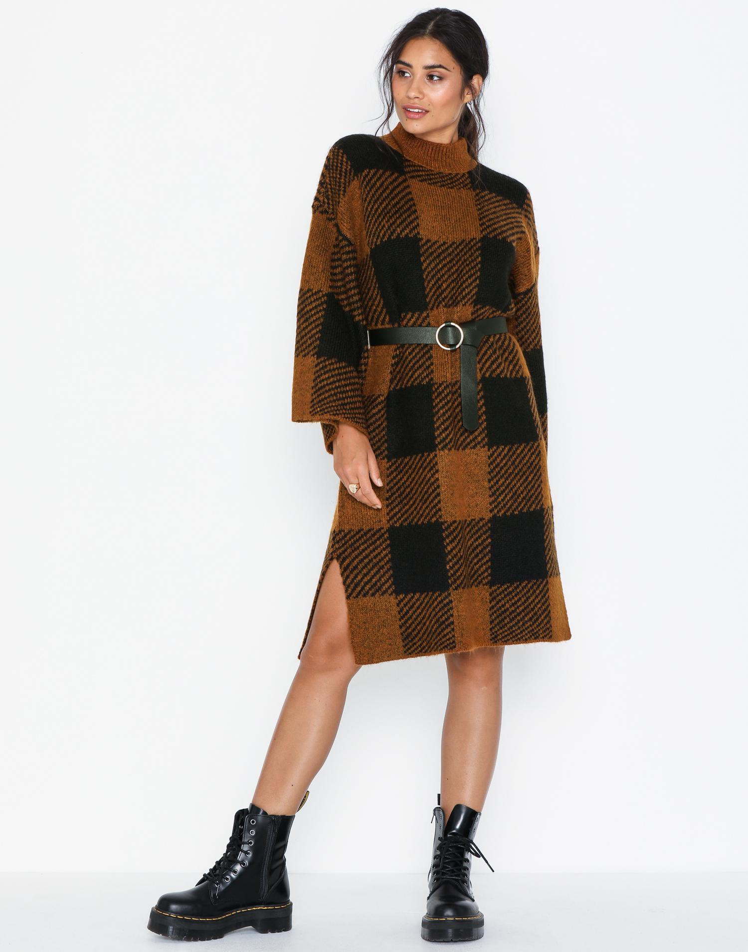 rutig klänning varm vinterklänning