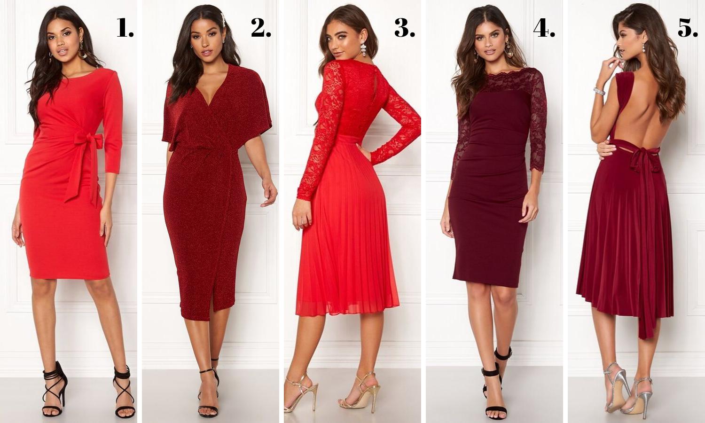 Röd klänning jul 2019 midiklänning lång ärm
