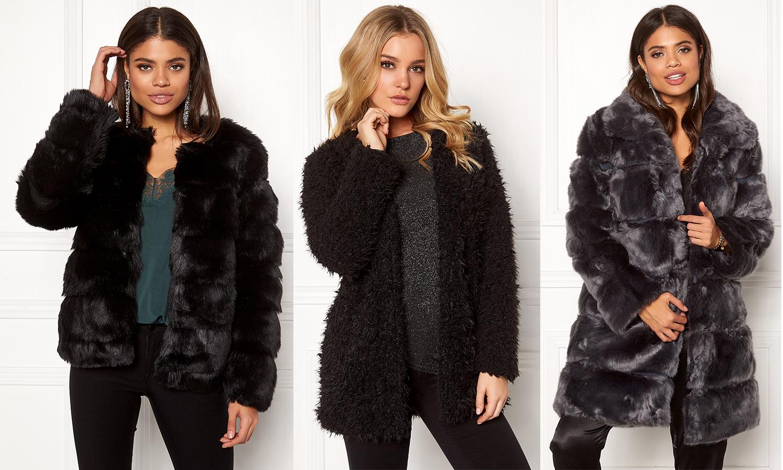 Svart fuskpäls jacka teddy faux fur jacka svart