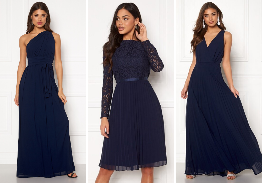 Brudtärna klänning mörk blå brudtärneklänning