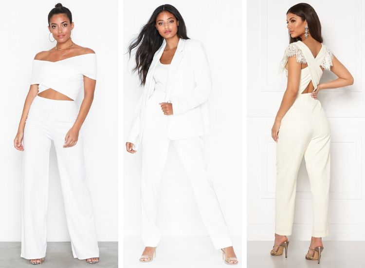 Alternativ till studentklänning studenten byxdräkt kavaj vit kostym