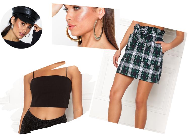 90-tals kläder clueless rutig kjol maglinne