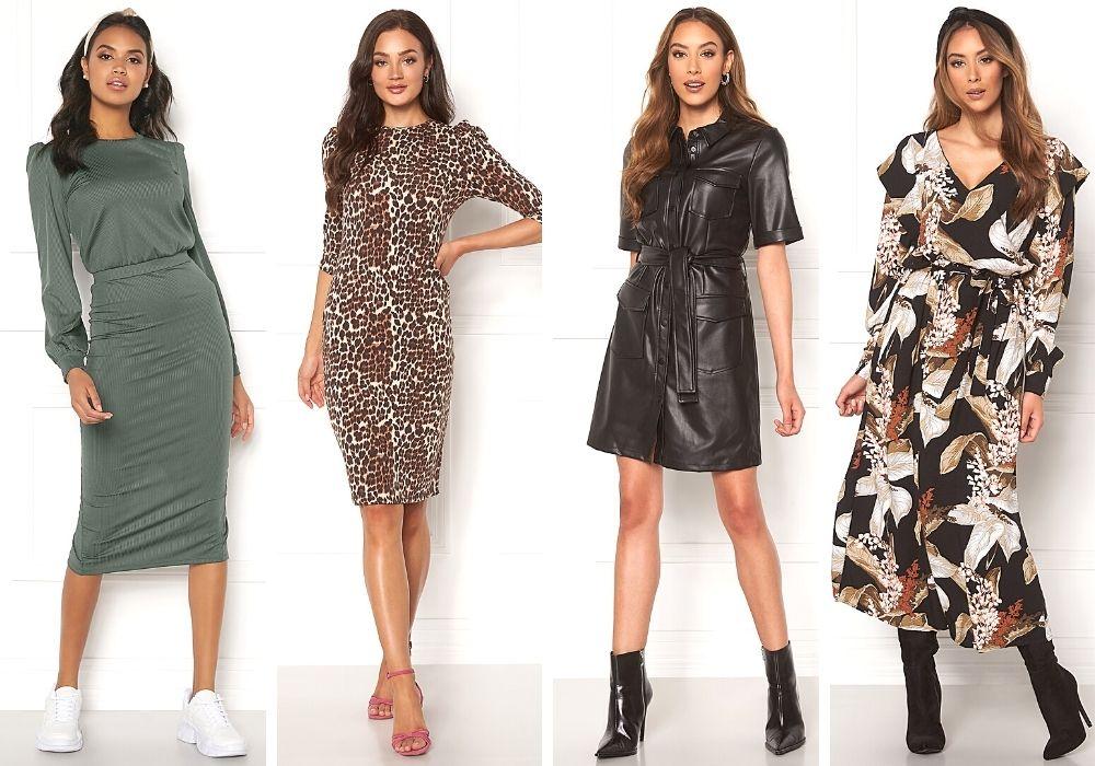 Höstklänningar 2020 stickad leopard fejkskinnklänning