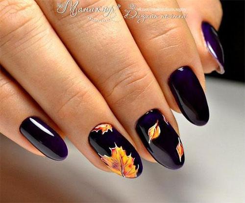 svarta naglar med höstlöv nail art pen