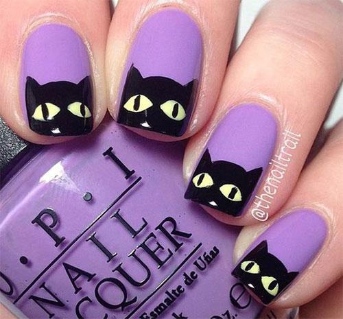 svarta katter naglar lila nagellack