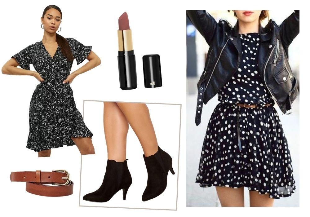 klänning skinnjacka outfit
