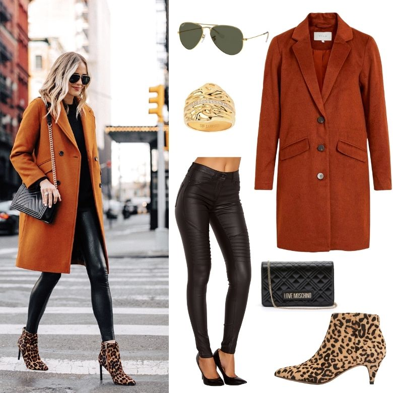 Höstkappa outfit höst röd brun orange kappa ray bans wet look leggings love moschino väska leopard boots